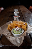 Tortilla chips with fresh guacamole Royalty Free Stock Photos