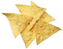 Tortilla-Chips getrennt auf Weiß Stockbild