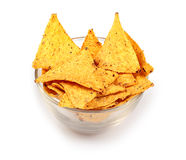 Tortilla chips in glass plate Stock Photo