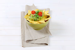 Tortilla chips with guacamole Royalty Free Stock Photos
