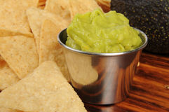 Tortilla chips and guacamole Royalty Free Stock Images