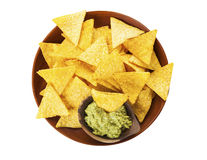 Tortilla chips and Guacamole isolated Royalty Free Stock Photo