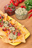 Tortilla chips with hot salsa� Royalty Free Stock Images