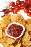 Tortilla chips with hot salsa dip. Tortilla chips with hot mexican salsa dip royalty free stock photography
