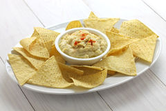 Tortilla chips with hummus dip Royalty Free Stock Image