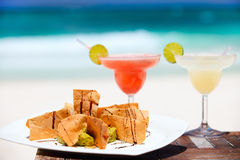Tortilla chips and margarita cocktails royalty free stock photography