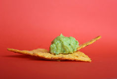 Tortilla chips with mexican guacamole Royalty Free Stock Photo