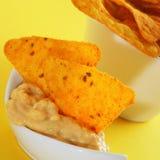 Tortilla chips and nacho cheese Royalty Free Stock Image