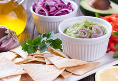 Tortilla Chips nachos, Guacamole and Ingredients Stock Image