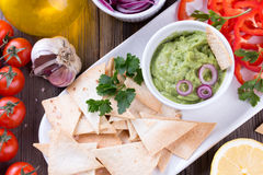 Tortilla Chips nachos, Guacamole and Ingredients Stock Images