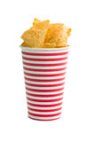 Tortilla chips in paper cup Royalty Free Stock Images