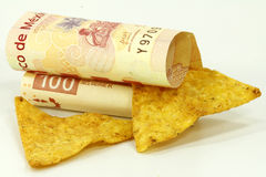 Tortilla chips and pesos. Tortilla chips and mexican pesos on white Stock Photography