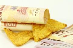 Tortilla chips and pesos Royalty Free Stock Image