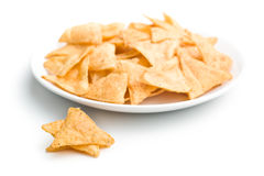 Tortilla chips. The tortilla chips on plate Royalty Free Stock Photos