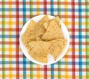 Tortilla chips on a plate and place mat Royalty Free Stock Image