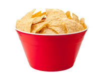 Tortilla Chips in a Red Bowl royalty free stock image