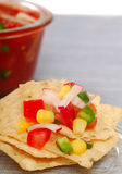 Tortilla chips with salsa Stock Images