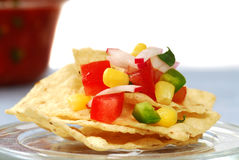 Tortilla chips with salsa Stock Photo