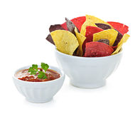 Tortilla chips and salsa Royalty Free Stock Photography