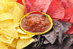 Tortilla chips and salsa Stock Image