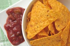 Tortilla chips with salsa Royalty Free Stock Photography