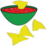 Tortilla chips with salsa. Illustration of corn tortilla chips served with a bowl of salsa Royalty Free Stock Images