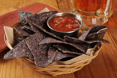 Tortilla chips and salsa with beer Royalty Free Stock Image