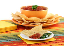Tortilla chips and salsa with copy space. Stock Photo