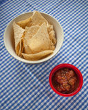 Tortilla Chips with a Side of Salsa Royalty Free Stock Photography