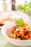 Salsa. Tortilla chips with spicy tomato salsa,Mexican food Royalty Free Stock Photos