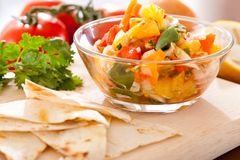 Salsa. Tortilla chips with spicy tomato salsa,Mexican food Stock Photos