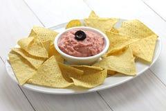 Tortilla chips with taramasalata dip Royalty Free Stock Images