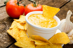 Tortilla chips with tomato and cheese-garlic dip Stock Photo