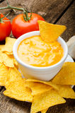 Tortilla chips with tomato and cheese-garlic dip Royalty Free Stock Photo
