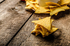 Tortilla chips with tomato and cheese-garlic dip Stock Photography