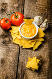 Tortilla chips with tomato and cheese-garlic dip Stock Image