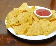 Tortilla Chips and Tomato Ketchup Stock Photography