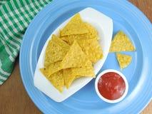 Tortilla Chips and Tomato Ketchup Royalty Free Stock Photo