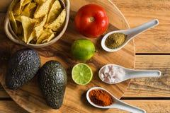 Tortilla-Chips und Bestandteile für Guacamolebad Lizenzfreies Stockfoto