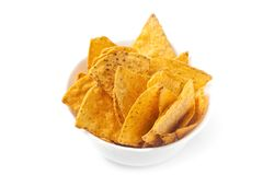 Tortilla Chips. In white bowl Stock Photos