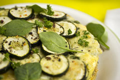 Tortilla with courgettes stock images