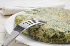 Tortilla DE espinacas, Spaanse spinazieomelet Royalty-vrije Stock Afbeeldingen