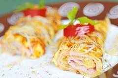 Tortilla de huevos con el jamón Imagen de archivo