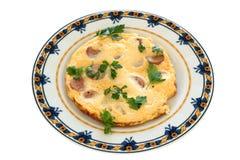 Tortilla de huevos con las salchichas Imagenes de archivo
