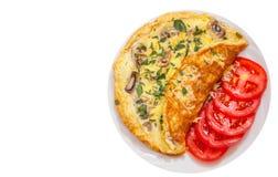 Tortilla de huevos con las setas y el queso Visión superior Aislado Imágenes de archivo libres de regalías