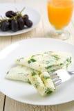 Tortilla de huevos de la clara de huevo y de la espinaca Imagen de archivo