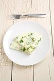 Tortilla de huevos de la clara de huevo y de la espinaca Fotos de archivo libres de regalías