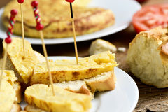 Tortilla de patatas, spanish omelet, served as tapas Stock Photography