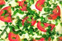 Tortilla del huevo con los tomates y las habas verdes Imágenes de archivo libres de regalías