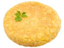 Tortilla espagnole (omelette) sur le fond blanc Image libre de droits